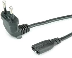 Roline naponski kabel za prijenosnike, Euro na 2 polni IEC320-C7, kutni, crni, 1.8m