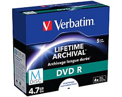 DVD R M-Disc Verbatim 4.7GB 4× Printable 5 pack JC