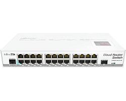 Mikrotik Cloud Router Switch CRS125-24G-1S-2HnD-IN, Atheros AR9344 CPU, 128MB RAM, 24xG-LAN, 1xSFP, RouterOS L5, LCD panel, 2.4Ghz 802.11b/g/n, desktop kućište, PSU