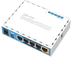 Mikrotik RB951Ui-2nD hAP, 650MHz CPU, 64MB RAM, 5×LAN, 2.4Ghz 802.11b/g/n, integrirana antena, USB, RouterOS L4, plastično kućište, PSU