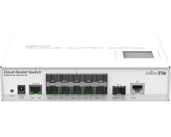 Mikrotik Cloud Router Switch CRS212-1G-10S-1S+IN, Atheros QC8519 400Mhz CPU, 64MB RAM, 1xGigabit LAN, 10xSFP cages, 1xSFP+ cage, RouterOS L5, LCD panel, desktop kućište, PSU