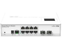 Mikrotik Cloud Router Switch CRS210-8G-2S+IN, Atheros QC8519 400Mhz CPU, 64MB RAM, 8xGigabit LAN, 2xSFP+, RouterOS L5, LCD panel, desktop kućište, PSU