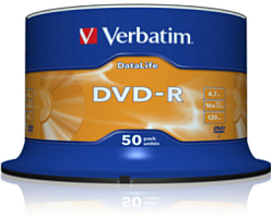 DVD-R Verbatim 4.7GB 16× Matt Silver 50 pack spindle (Non AZO)