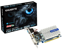 Gigabyte GeForce 210 1GB DDR3/64-bit, PCIe, VGA/DVI-I/HDMI, Silent cooling, Low profile (GV-N210SL-1GI)