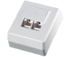 Roline VALUE UTP priključnica Cat.6, (2×RJ45) nadžbukna, bijela