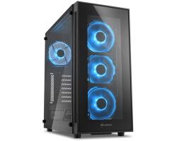 Sharkoon TG5 Midi Tower ATX kućište, bez napajanja, prozirna prednja/bočna stranica, plavi LED, crno