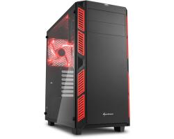 Sharkoon AI7000 Midi Tower ATX kućište, bez napajanja, prozirna bočna stranica, crveni LED, crno