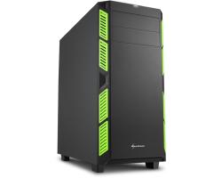 Sharkoon AI7000 Silent Midi Tower ATX kućište, bez napajanja, zvučna izolacija, zeleni LED, crno