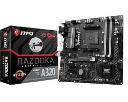 MSI MB A320M BAZOOKA, S. AM4, Ryzen, DDR4/3200, PCIe, VGA/DVI-D/HDMI, S-ATA3, G-LAN, USB3.1, mATX
