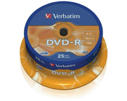 DVD-R Verbatim 4.7GB 16× Datalife Matt Silver 25 pack spindle