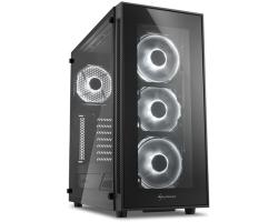 Sharkoon TG5 Midi Tower ATX kućište, bez napajanja, prozirna prednja/bočna stranica, bijeli LED, crno