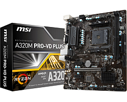 MSI MB A320M PRO-VD PLUS, S. AM4, Ryzen, DDR4/3200(OC), PCIe, VGA/DVI-D, S-ATA3, RAID, G-LAN, USB3.1, mATX