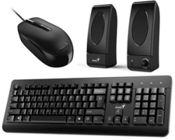 Genius KMS-U130 tipkovnica+miš+zvučnici, USB, crna