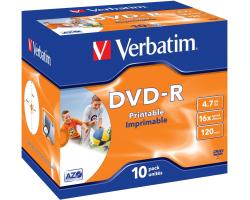 DVD-R Verbatim 4.7GB 16× Wide Inkjet PRINTABLE (ID Brand) 10 pack JC