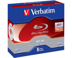 DVD Blu-Ray Verbatim BD-RE SL 2× 25GB White Blue Surface 5 pack JC (Single Layer)