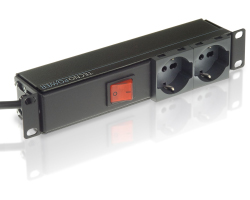 Tecnosteel strujni razdjeljnik, 2×utičnice, sa prekidačem 16A-250V - crno