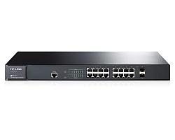 TP-Link 16-port Gigabit L2 upravljiv preklopnik (Switch), 16×10/100/1000M RJ45 ports, 2×SFP podržava MiniGBIC module, IGMP V1/V2/V3 Snooping, Priority Management