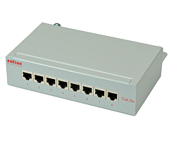 Roline Cat.5e Wall Mount Patch Panel 8-portova STP, svijetlo sivi