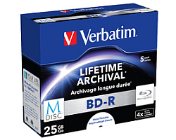 DVD Blu-Ray M-Disc Verbatim BD-R SL 25GB 4× Printable 5 pack JC (Single Layer)