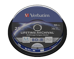 Blu-Ray M-Disc Verbatim BD-R SL 25GB 4× Printable 10 pack spindle (Single Layer)