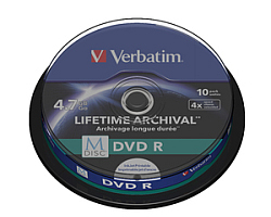DVD R M-Disc Verbatim 4.7GB 4× Printable 10 pack spindle