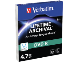 DVD R M-Disc Verbatim 4.7GB 4× Matt Silver 3 pack SC