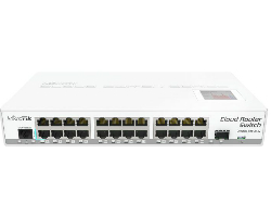 Mikrotik Cloud Router Switch CRS125-24G-1S-IN with Atheros AR9344 CPU, 128MB RAM, 24xGigabit LAN, 1xSFP, RouterOS L5, LCD panel, desktop kućište, PSU