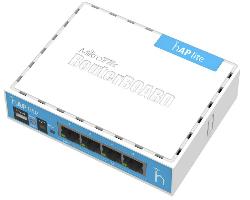 Mikrotik RB941-2nD, hAP Lite, 650MHz CPU, 32MB RAM, 4×LAN, 2.4Ghz 802.11b/g/n, integrirana antena, RouterOS L4, klasično kućište, PSU
