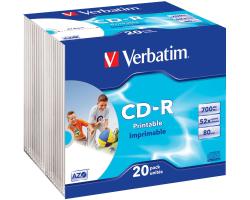 CD-R Verbatim 700MB 52× DataLife+ Wide PRINTABLE 20 pack Slimcase