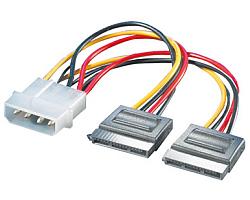 Roline interni Y-naponski kabel, 4-pin M HDD na 2×SATA, 0.12m