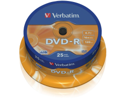 DVD-R Verbatim 4.7GB 16× Matt Silver 25 pack spindle