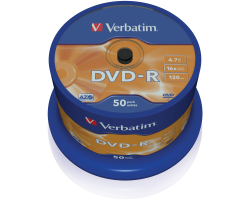 DVD-R Verbatim 4.7GB 16× Matt Silver 50 pack spindle