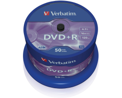 DVD+R Verbatim 4.7GB 16× Matt Silver 50 pack spindle