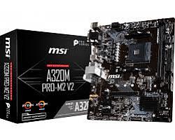 MSI MB A320M PRO-M2 V2 , S. AM4, Ryzen, DDR4/3200(OC), PCIe, SATA3, M.2, RAID, G-LAN, USB3.1, VGA/DVI-D/HDMI, mATX