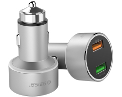Orico USB auto punjač, 2 porta, 1x Quick Charge port, aluminium, srebrni (ORICO UPC-Q2)