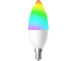 WOOX WiFi Smart LED RGB žarulja E14, 4.5W, 350lm, 2700K toplo bijela, Tuya smart app, glasovna kontrola - Alexa & Google Assistant, Wi-Fi kontrola, Timer/Schedule postavke