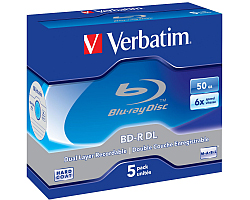 DVD Blu-Ray Verbatim BD-R DL 6× 50GB White Blue Surface Scratch Guard Plus 5 pack JC (Double Layer)