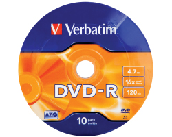 DVD-R Verbatim 4.7GB 16× Matt Silver Wagon Wheel 10 pack