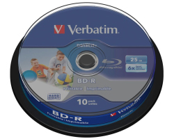 DVD Blu-Ray Verbatim BD-R SL 6× 25GB HTL WIDE PRINTABLE No ID 10 pack spindle (Single Layer)