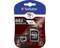 Verbatim memorijska kartica Micro Secure Digital (XC) 64GB Class 10 + adapter, Blister Pack