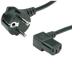 Roline naponski kabel, kutni IEC320 C13 konektor, crni, 1.8m